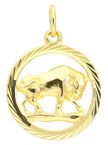 Sternzeichen Anhänger Stier (Ohne Kette) Gelbgold 333 Gold (8 Karat) Ø 15mm Rund Tierkreiszeichen Horoskop Sternbild Goldanhänger Gavno A-04433-G302-Sti