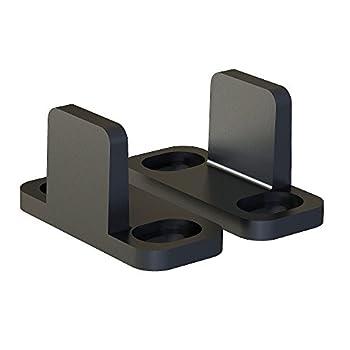 JUBEST Black Aluminum Floor Guide Sliding Barn Door Hardware Bypass Door Guide Set of 2