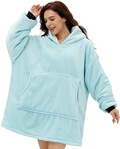 Oversized Unisex Thick Double-Layered Blanket Hoodie with Sleeves, Hood, Large Front Pocket, Wearable Snuggle Blanket with Flannel, Sherpa Fleece, Giant Blanket Sweatshirt for Adults, Teens, Children