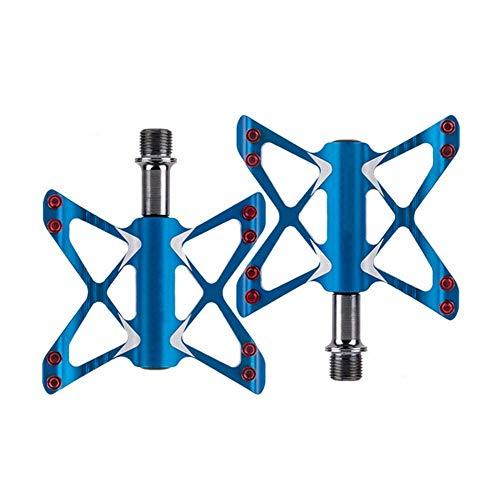 MTB Pedals BMX Mountain Bike Pedals Road Bike Pedals Flat Pedals Non-Slip Lightweight Aluminum Pedal 9/16' (Color : Blue)