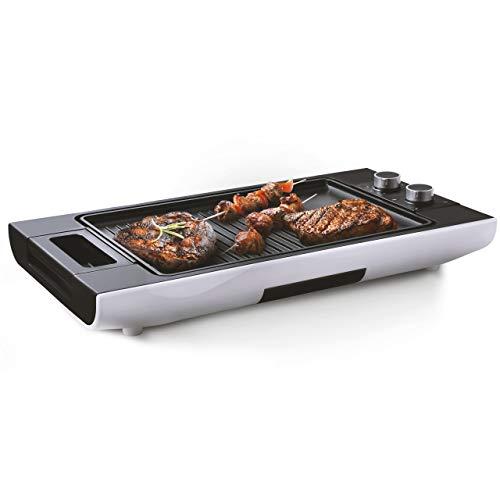 Venga! Grande parrilla de mesa Teppanyaki con placas, con control de temperatura ajustable y temporizador, revestimiento antiadherente, Diseño moderno, 1600 W, Blanco/Negro, VG GR 3010