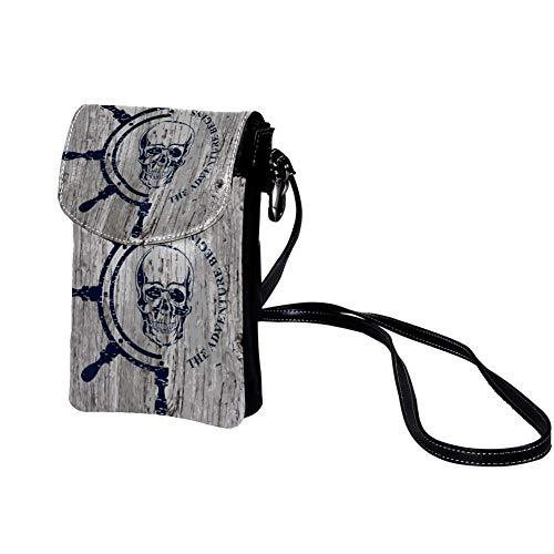 TIZORAX - Cartera pequeña para teléfono móvil, diseño de calavera pirata y ancla, para mujeres y niñas estampado 9 19x12x2cm/7.5x4.7x0.8in