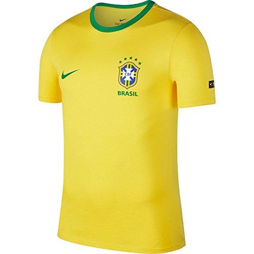 Camiseta Nike Brasil 2018/2019 Tee Crest Amarela Masculina GG