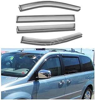 itelleti 4pcs Outside Mount Dark Smoke Sun/Rain Guard Front+Rear Tape-On Auto Window Visors For 08-19 Dodge Grand Caravan 08-16 Chrysler Town & Country Mini Passenger Van