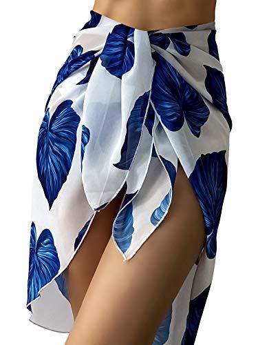 Milumia Women's 2 Packs Leaf Print Bikini Panty and Asymmetrical Cover Up Beach Skirt Set Blue and White Small