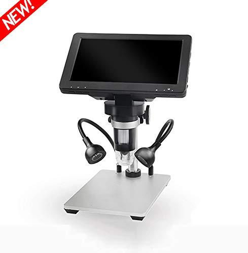 QWET 1000X 9 Microscope Affichage LED 1080P Portable LED Loupe Numérique avec Support pour Circuit imprimé Réparation Outil de Soudure, 12 Millions Pixels