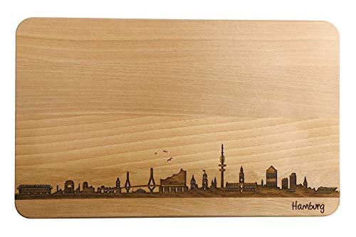 Brotzeitbrett Hamburg Skyline | Frühstücksbrettchen aus Buche | Holz Schneidbrett | Geschenk mit Gravur | Frühstücksbrett (Standard (22x14x1cm), ohne persönlicher Gravur)