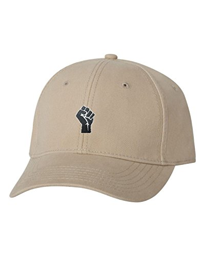 Go All Out Adjustable Khaki Adult Fist Embroidered Dad Hat Structured Cap