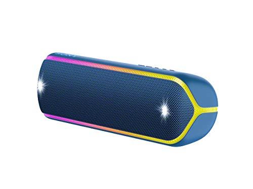 Sony SRS-XB32L - Altavoz inalámbrico portátil (Bluetooth, Extra Bass, diseño portátil, batería hasta 12h, Sonido Live Sound, Party Booster, Luces, Resistente al Agua y Polvo IP67) Azul