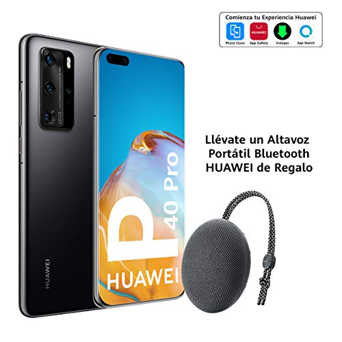 "Huawei P40 Pro 5G - Smartphone de 6,58"" OLED (8GB RAM + 256GB ROM, Cuádruple Cámara Leica de 50MP (50+40+12+TOF), zoom 50x, Kirin 990 5G, 4200 mAh, carga rápida , EMUI 10 HMS) Negro + altavoz CM51"