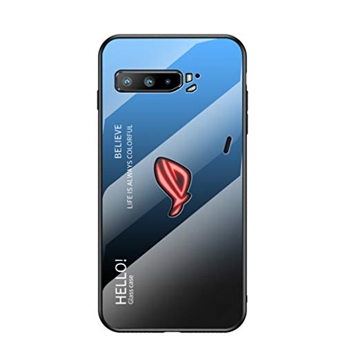 HAOTIAN Hülle für ASUS ROG Phone 3 ZS661KS Hülle, Farbverlauf-Glas Back Cover Handyhülle, Ultra Thin Tasche Cover TPU Silikon Grenze Shock Absorption Stoßfest Hülle Schutzhülle(Blau Schwarz)
