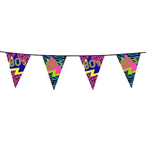 Boland 44600 - Wimpelkette 80er Jahre, 1 Stück, Länge 600 cm, Fahnenkette, Kunststoffgirlande, Hängedekoration, Karneval, Mottoparty, Jubiläum, Feier, 80s, Disco, Geburtstag, neonfarben