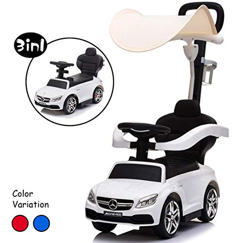 Little Brown Box 3 in 1 Licensed Mercedes Benz AMG Kids Ride on Push Car for Toddler,Car Stroller Baby Ride on Toys for 1 to 3 Year Boy & Girl W/ Parent Handle, Armrest Guardrail, Music & Horn, White