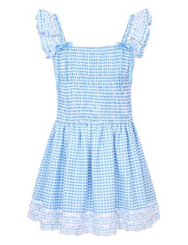 MSemis Herren Sissy Dessous Nachthemd Kurz Minikleid Vintage Dienstmädchen Kostüm Trägerkleid Kleidchen mit Schleife Kariert Nachtwäsche Blau Medium