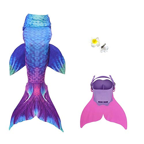 Adult Women Swimmable Mermaid Tail + Monofin Kids Girls Cos Gift 007 140CM