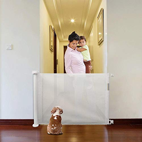 succeedw Puerta de bebé retráctil, puerta de escalera extensible para perro, puerta de seguridad para interior/exterior/escaleras/puertas/cubierta/barandilla