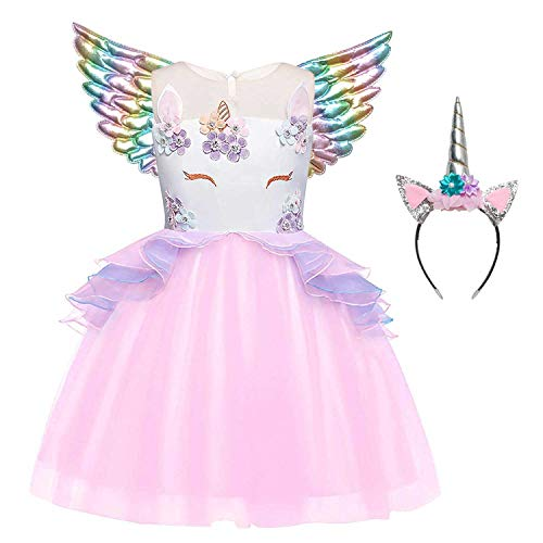 Girl Unicorn Outfits Dresses Princess Birthday Party Halloween Costume Pink