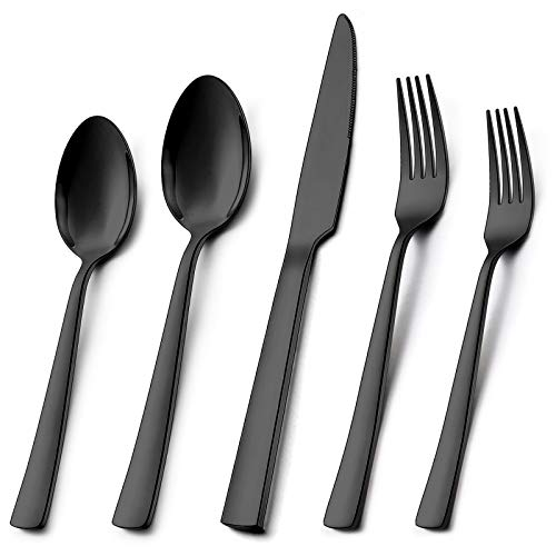 Wildone 20-Piece Black Silverware Set Stainless Steel Flatware Square Cutlery Set Service for 4 Eating Utensils Include Knife Fork Spoon Mirror Polished Dishwasher Safe