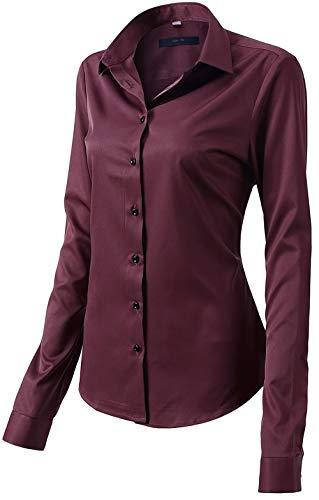 Damen Bluse aus Bambusfaser Elastisch Slim Fit Hemd für Freizeit Business Figurbetonte Hemdbluse Langarm Elegant Shirt Bügelfrei Weinrot 36/10