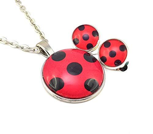 Stechschmuck Schmuckset Handmade Punkte Polka Dots Lady Bug Ladybug Miraculous Ohrclips Ohrklemmen Silber Farben Halskette mit Anhänger Amulett Talisman MedaillonGeschenkset Weihnachten Geburtstag