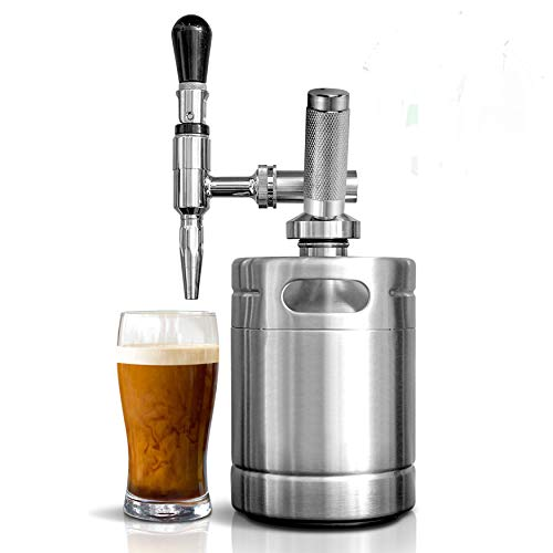 Nitro Cold Brew Coffee Maker - Home Brew Coffee Keg, Nitrogen Coffee Machine Dispenser System w/ Pressure Relieving Valve Kit & Stout Creamer Faucet, Stainless steel - NutriChef NCNTROCB10