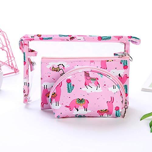 3PCS / Set Fashion Marque cosmétiques Sacs Waterproof Portable Trousse Femmes PVC Sac Voyage Sac de Toilette (Color : Pink)