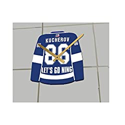 FanPlastic Hockey Jersey ONLY Clocks - N H L Color Themed Clock - Let's GO Editions !! (Let's Go Lightning Edition)