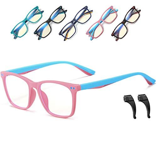 Musivon Kinder Brille Ohne Stärke-Anti Blaulichtfilter Brille Kinder Blaufilter Spiel Computer Brillen für Mädchen Junge mit Gläsern 4-14 Jahre(Rosa)