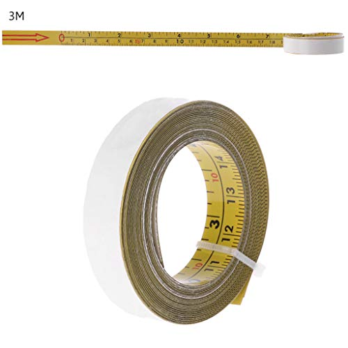 Lamdoo Zoll & Metrisch Selbstklebendes Maßband Stahl Gehrungssäge Skala Gehrungsschiene Lineal - 3M