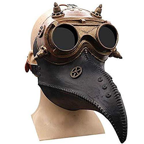 Máscara de doctor de Peste de Ochenta Péscara Negra Pájaro Steampunk Gas Disfraces Larga Nariz Pájaro Steampunk Halloween Props Mascarilla Médico Pájaro