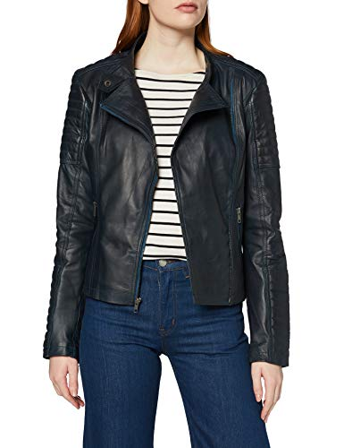 Urban Leather UR-223 Sylvia Fashion Chaquetas de Cuero para Dama, Navy Azul, Talla XL