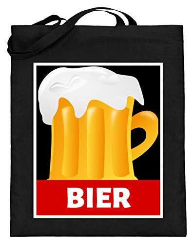 SPIRITSHIRTSHOP Bier Beer Alkohol Saufen Party - Jutebeutel (mit langen Henkeln) -38cm-42cm-Schwarz