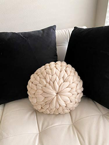 la Reine Large Chunky Knit Pillow, Soft and Thick Giant Cable Hand Knit Throw, Big Yarn Blanket or...