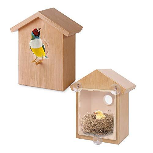 advancethy Vogelfutterspender Aus Holz Vogelnest Mit Saugnapf Innovatives Kabine Design DIY Vogel Zubehör Vogelhaus