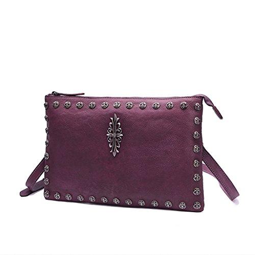 Clutch clásico de Mujer con Tachuelas Vintage - Cuero Genuino - Hecho a Mano - Cartera de Hombro de Cuero Informal (Color : Purple, Tamaño : 12inch)