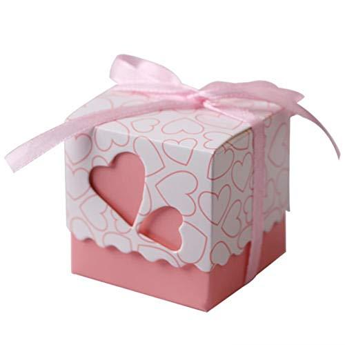 CHUJIAN 10/50 / 100Pcs Liebes-Herz-Süßigkeit-Kästen Schokoladen-Tasche Wedding Favor Geburtstags-Party-Verpackungs-Kuchen-Geschenk-Box mit Bändern Dekoration (Farbe : Rosa, Größe : 10pcs)