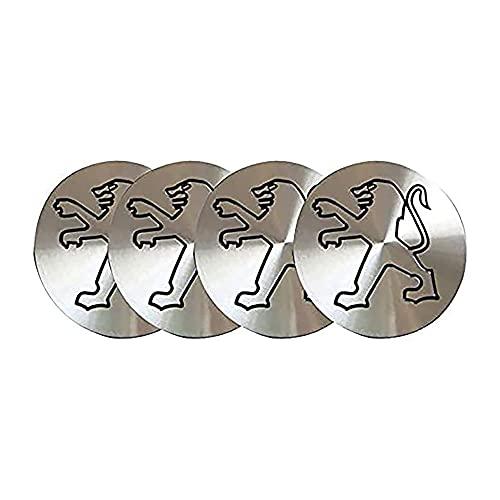 4 piezas Rueda de Centro Tapacubos, para Peugeot 106 107 206 207 306 307 506 507 108 208 308 508 Impermeable resistente a los arañazos y resistente al desgaste Accesorios De Estilo del Logotipo