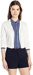 Chetta B Womens B1606392 3/4 Sleeve Pearl Trim Cardigan Bolero 3/4_Sleeve Shrug Sweater - White