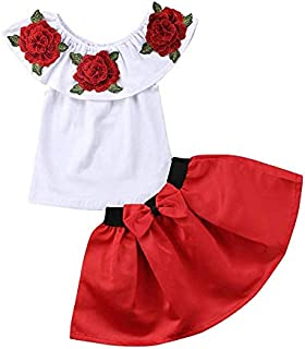 comprar comparacion Vavshop 2-7 años Niñas con Hombros Descubiertos Camiseta Rosa Tops + Faldas Tutú Conjunto de Ropa para Bebés