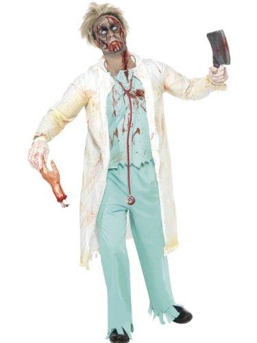 Smiffys Costume docteur zombie, Vert, avec veste, haut attaché, pantalon et gants