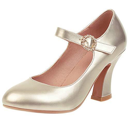 Mediffen Mujer Tacón Luis XV Correa De Tobillo Mary Jane Pump Zapatos...