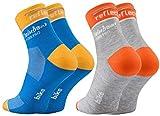 Rainbow Socks Pro - Hombre Mujer Coolmax Deporte Calcetines Reflectantes de Ciclismo - 2 Paar - Amarillo-Azul Grau-Naranja - Talla UE 43-46