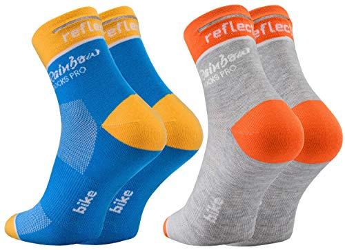 Rainbow Socks Pro - Femme Homme Coolmax Réfléchissant Chaussettes de Cyclisme - 2 Paire