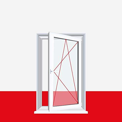 Drutex Kunststofffenster weiß Dreh Kipp 3-fach Verglasung, Anschlag: DIN Links, BxH: 600x800 (60x80 cm), Glas: 3-Fach