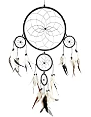 Pink Pineapple Handmade Bohemian Dream Catcher Ethical Hanging Black and Silver Dreamcatcher Wall Art with Black and White Feathers and Beads Traditional Crochet Design - 20cm Wide, 60cm Long