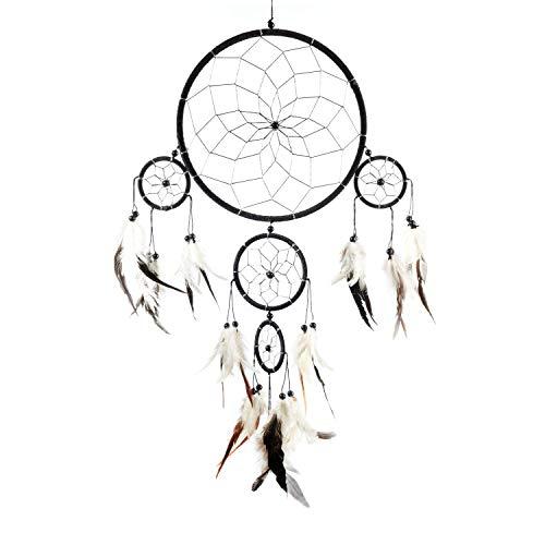 Pink Pineapple Atrapa Sueños Grande Bohemio: Arte de Pared de Dreamcatcher Colgante Ético con Plumas y Cuentas, de Color Negro, Blanco y Plata con Diseño de Ganchillo Tradicional - 22cm x 60cm