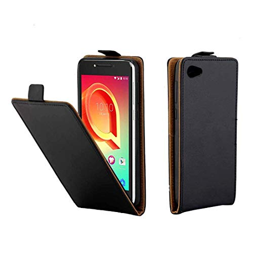 Liluyao Fundas para teléfono móvil For Alcatel A5 LED TPU Business Style Funda de Cuero con Cubierta Vertical y Ranura for Tarjetas Estuches para teléfonos celulares (Color : Black)