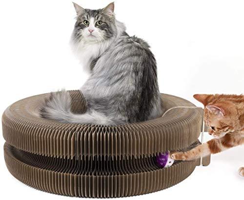 JY Creativo Rascador para Gatos Multifunción Mascotas Cama Papel Corrugado Juguetes Redondo Postes Rascadores una Función de Campana Gatos Amor Plegable Rascador