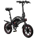 DYU D3F Bicicleta Eléctrica Plegable - 14' Bici Electrica Adulto, 240W Motor Batería 36V 6AH, 3 Modos de Conducción, Bicicletas Eléctricas Ciudad con Pedales