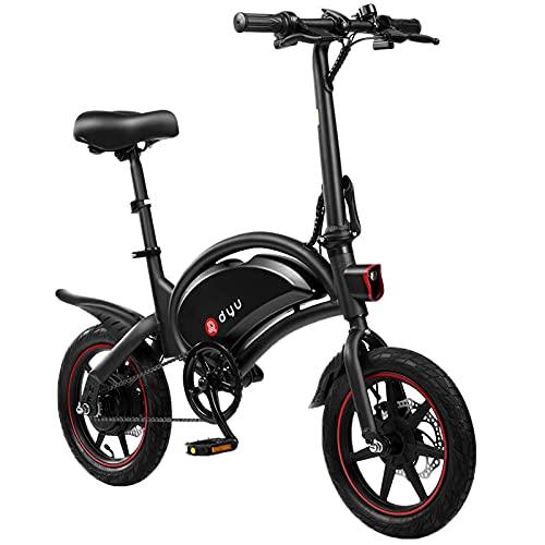 DYU D3F Bicicleta Eléctrica Plegable 14' Bici Electrica Adulto, 250W Motor Bicicleta Plegable Batería 36V 6AH, 3 Modos de Conducción, Bicicletas Eléctricas Ciudad con Pedales